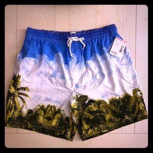 Joe Boxer- Men's Swim Trunks - Palm Trees & Sky